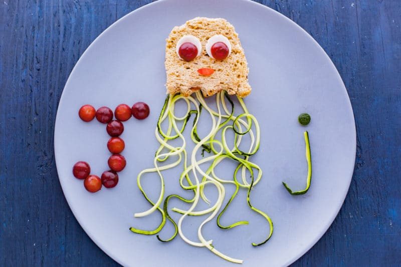 Peanut Butter Jellyfish Sandwich with Zucchini Noodle Tentacles