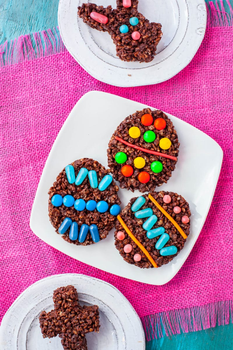 Easter Rice Krispie Treats with chocolate and candy