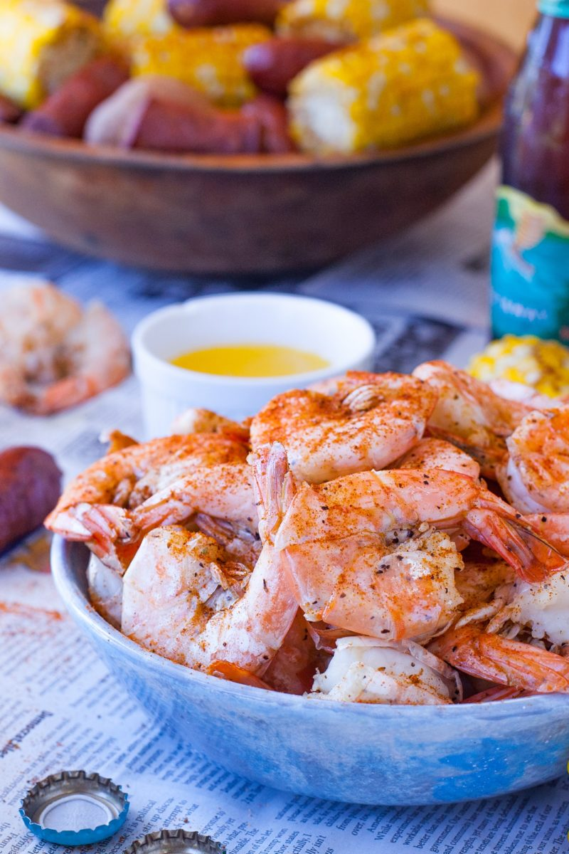 Bowl of Shrimp for shrimp boil party