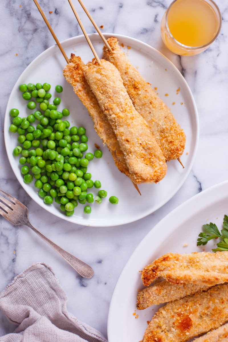 Coconut Chicken Skewers and Peas