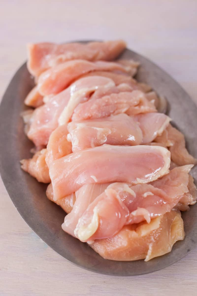 Platter of raw chicken tenders