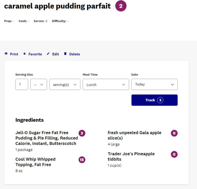 WW Points for Caramel Apple Pudding Parfait