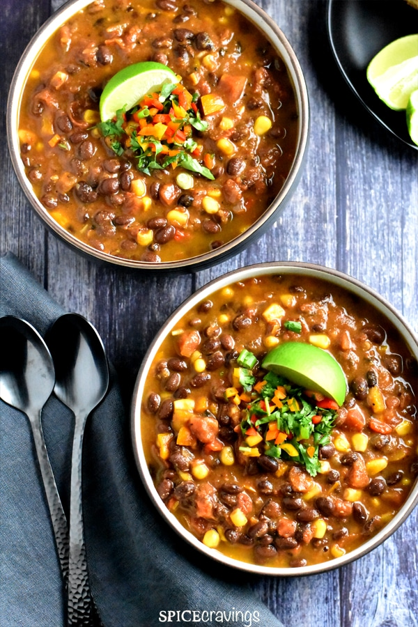 Black Bean Chili in Instant Pot | Vegan Chili