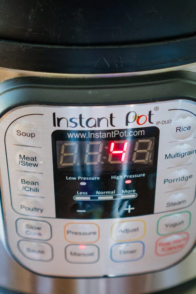 Instant Pot Set to Cook 4 minutes