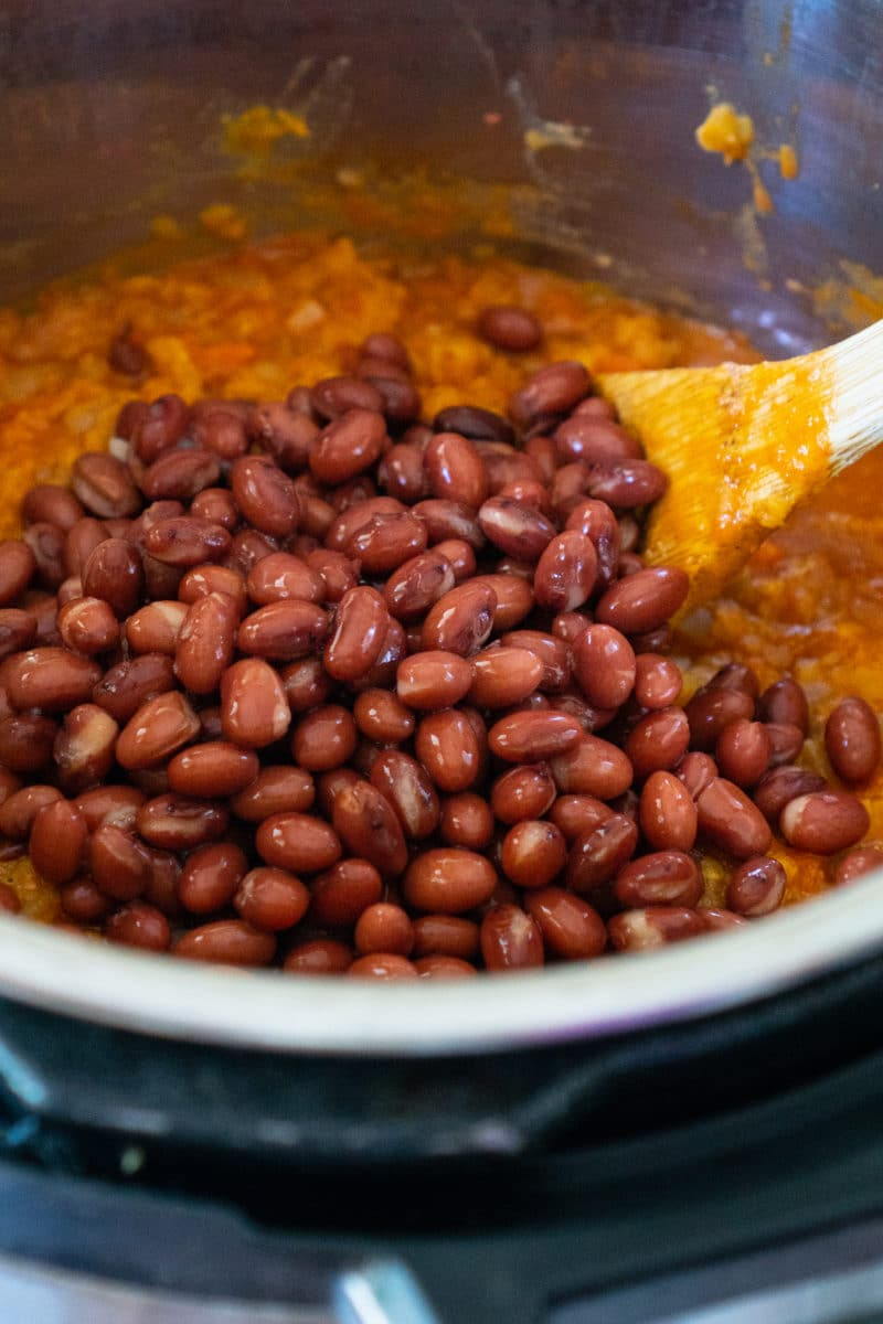 Red Beans added to Madras Lentils in the Instant Pot