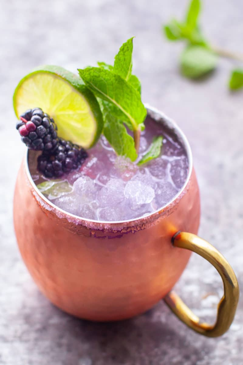 Blackberry Moscow Mule in a Hammered Copper Mug