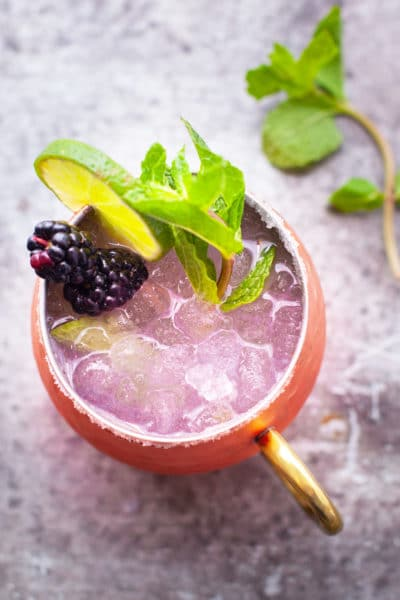 Blackberry Moscow Mule Recipe with Mint