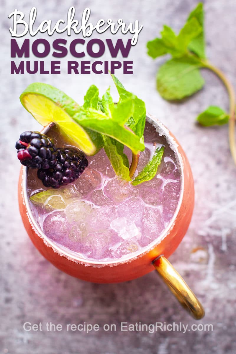 Moscow Mule Cocktail with Blackberries Lime and Mint