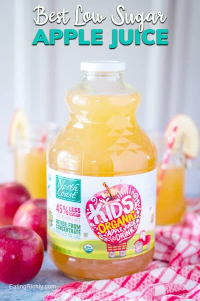 If you're looking for a great tasting low sugar apple juice for kids, you have to try North Coast Organic's Apple Juice Drink! Made from pressed organic apples (no concentrate!) and filtered water, it tastes like an apple right from the tree. #ad #applejuice #healthyjuice #juice #lowsugar #sugarfree #sugarfreeapplejuice