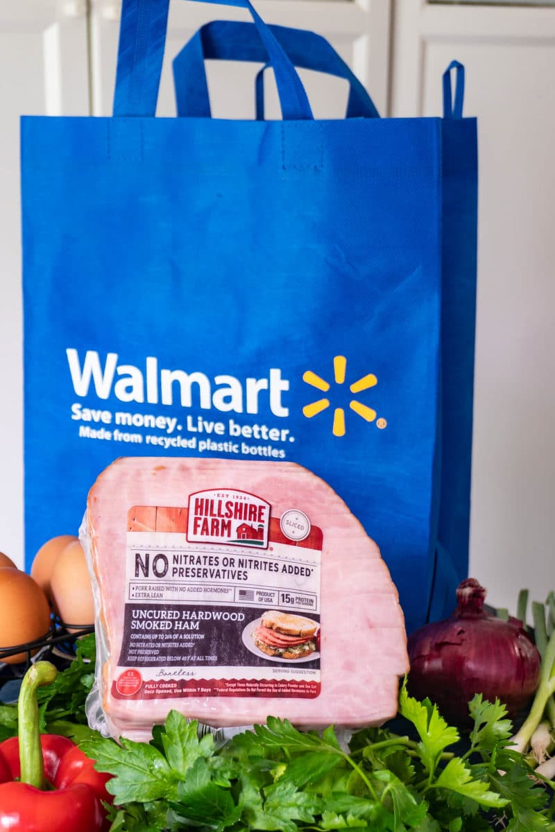 Hillshire farm uncured hardwood smoked ham with produce and Walmart grocery bag