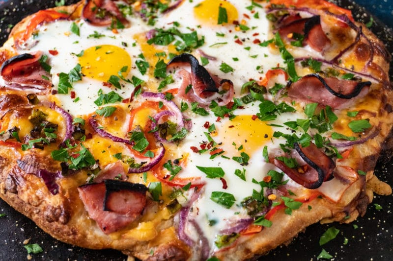 Ham Egg and Cheese Breakfast Pizza
