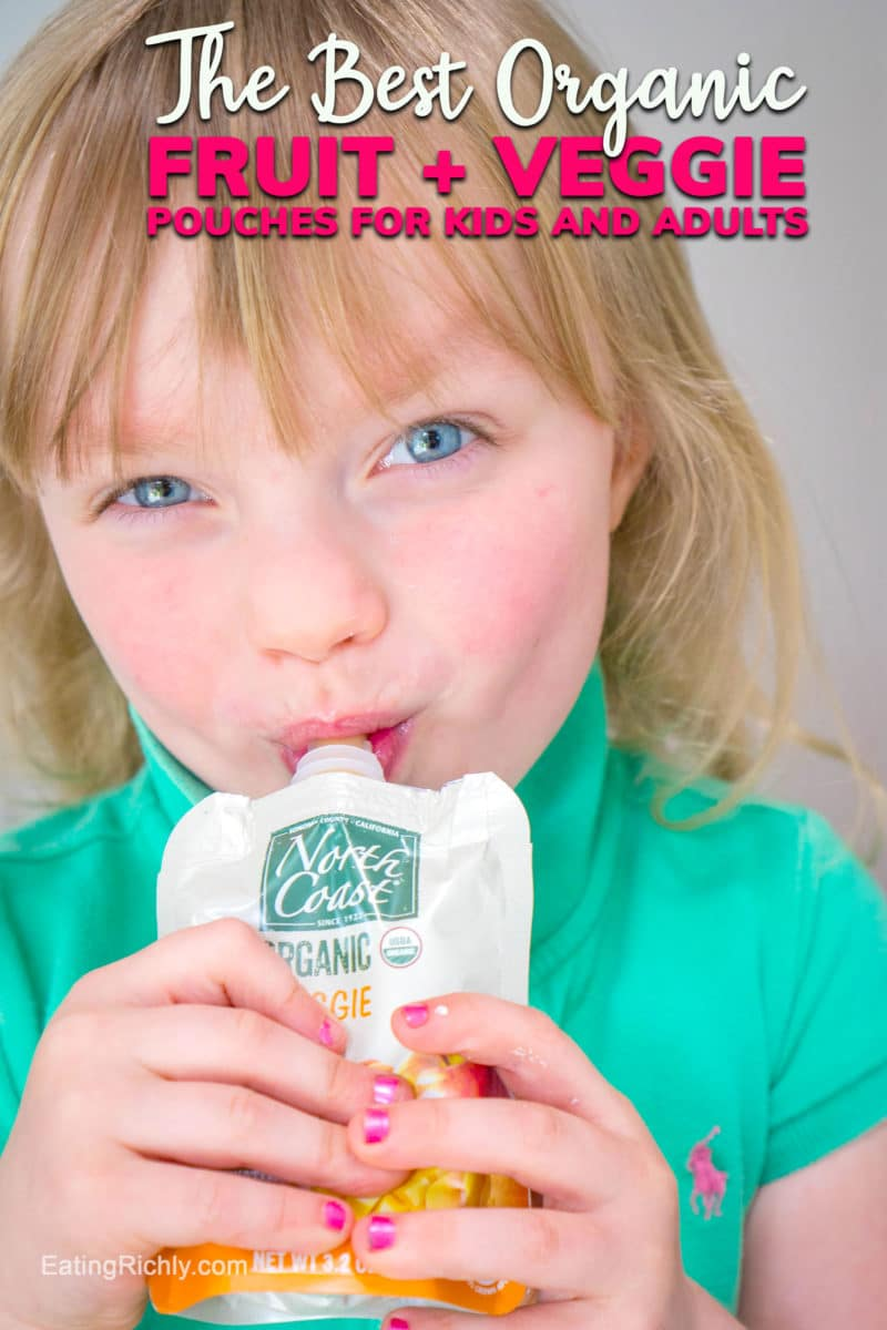 These are the best Fruit and Veggie Pouches for kids thanks to extensive taste testing by kids, organic ingredients, and sustainable practices. #pouches #fruitpouches #fruitandveggies #veggiepouches #kidpouches #healthyfood #healthykids #healthykidfood #organic #sustainable