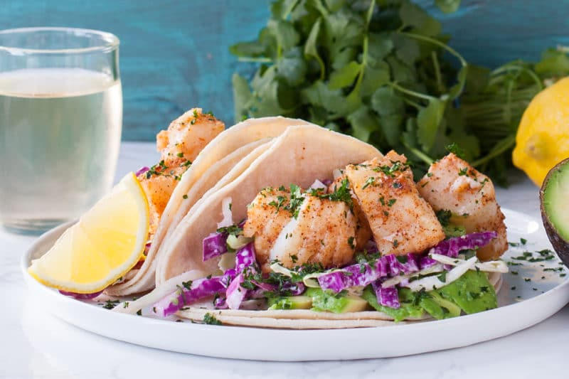 Easy Fish Tacos with Cod chunks and purple and green slaw