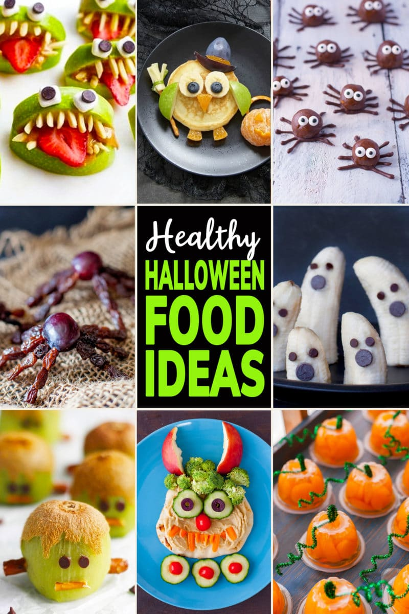 Collage of Cute Healthy Halloween Food Ideas