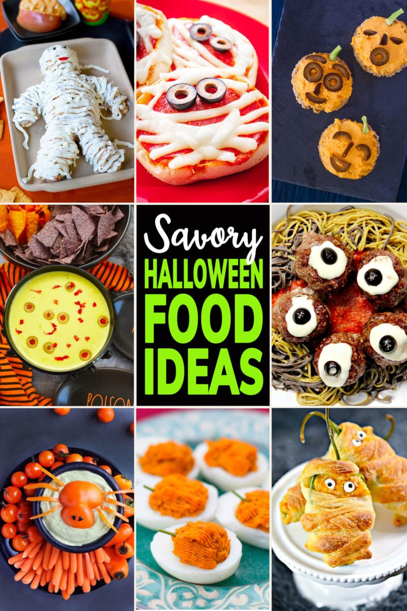 Photo collage of savory Halloween Food Ideas