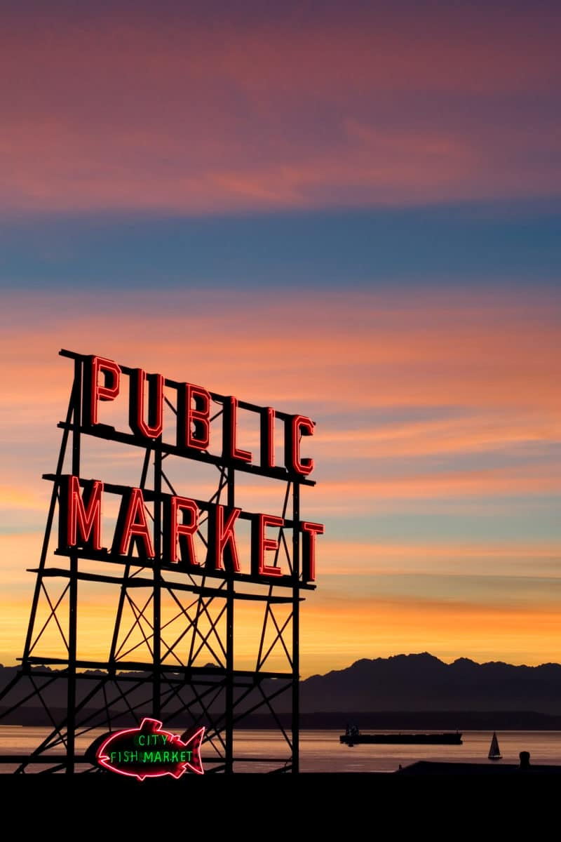 Pike Place Market Sign in front of sunset