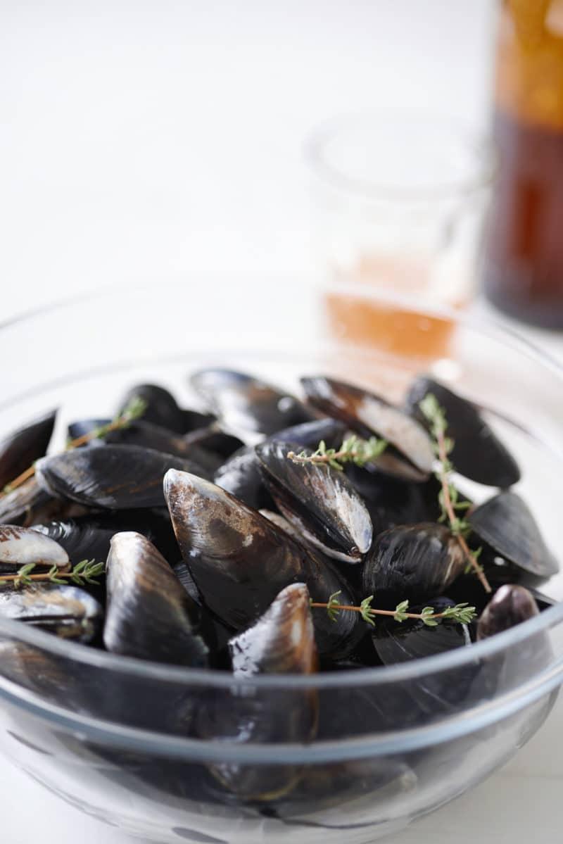 Fresh raw west coast mussels in glass a bowl