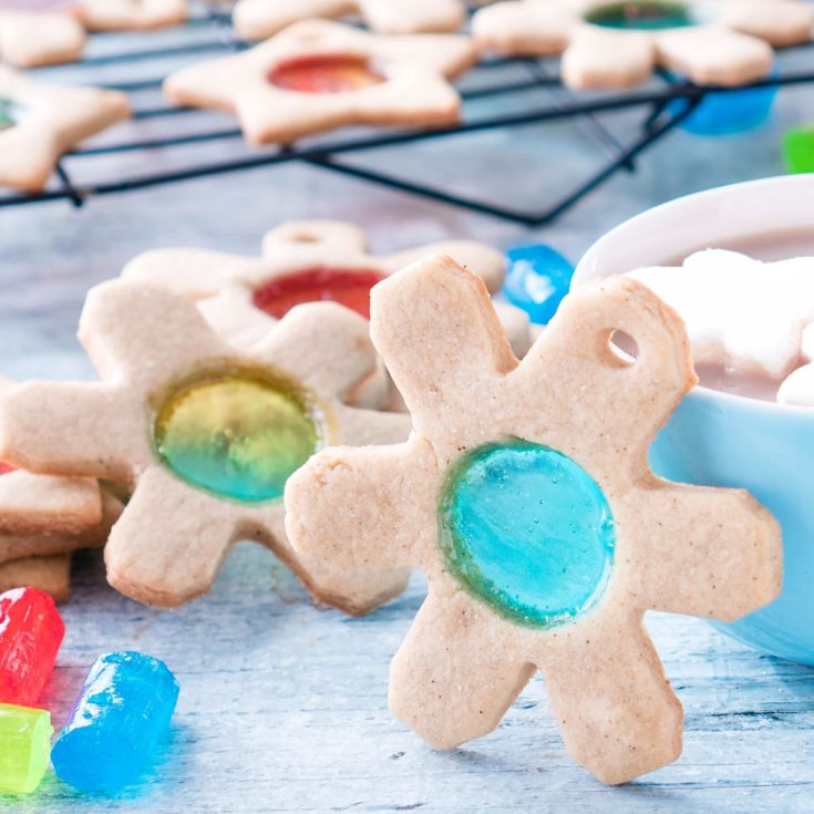 Stained Glass Christmas Cookies shaped like snowflakes