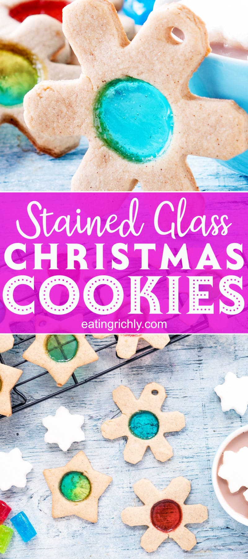 Snowflake and star shaped sugar cookies with colorful round windows in the center. Text reads Stained Glass Christmas Cookies