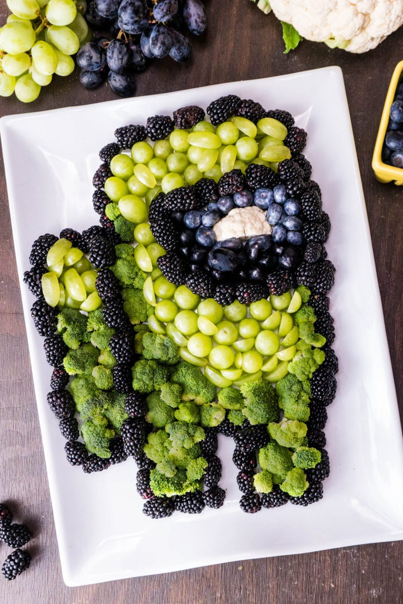 Among Us Birthday Party food Fruit and Veggies shaped like Among Us Green Imposter