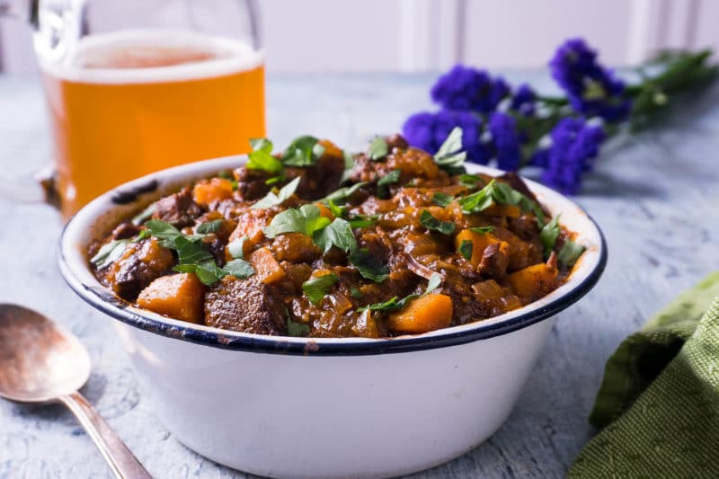 Bowl of German Goulash with chunks of beef and carrots