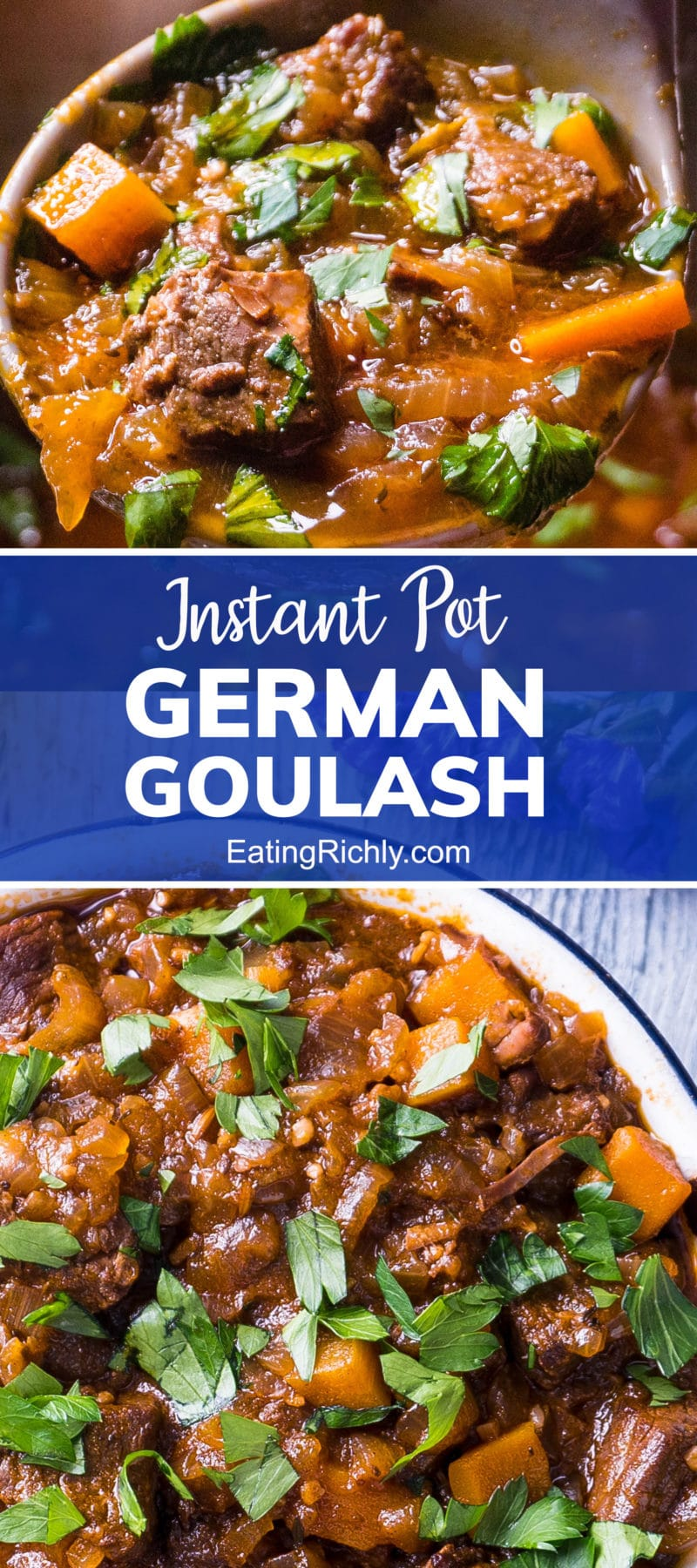 German goulash close up with text reading Instant Pot German goulash