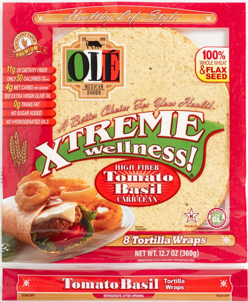 package of ole xtreme wellness tomato and basil tortilla wraps