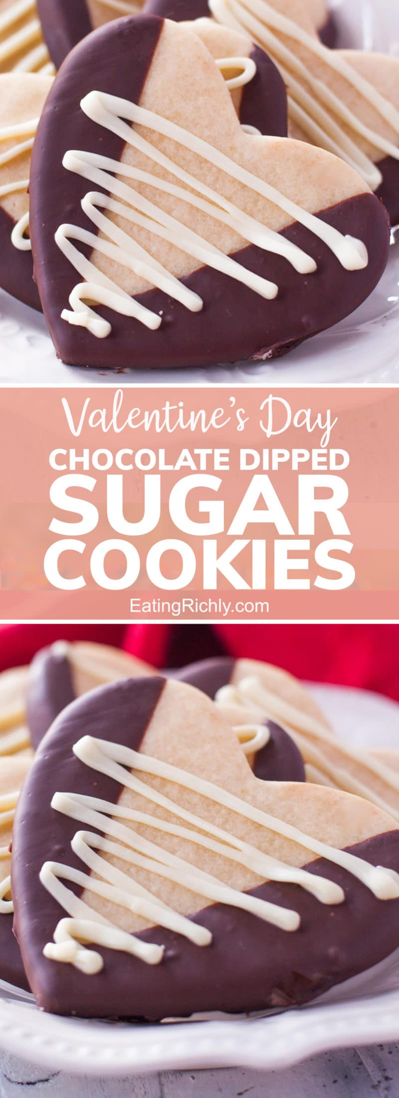 Heart shaped Valentine's Day Sugar Cookies with dark and white chocolate