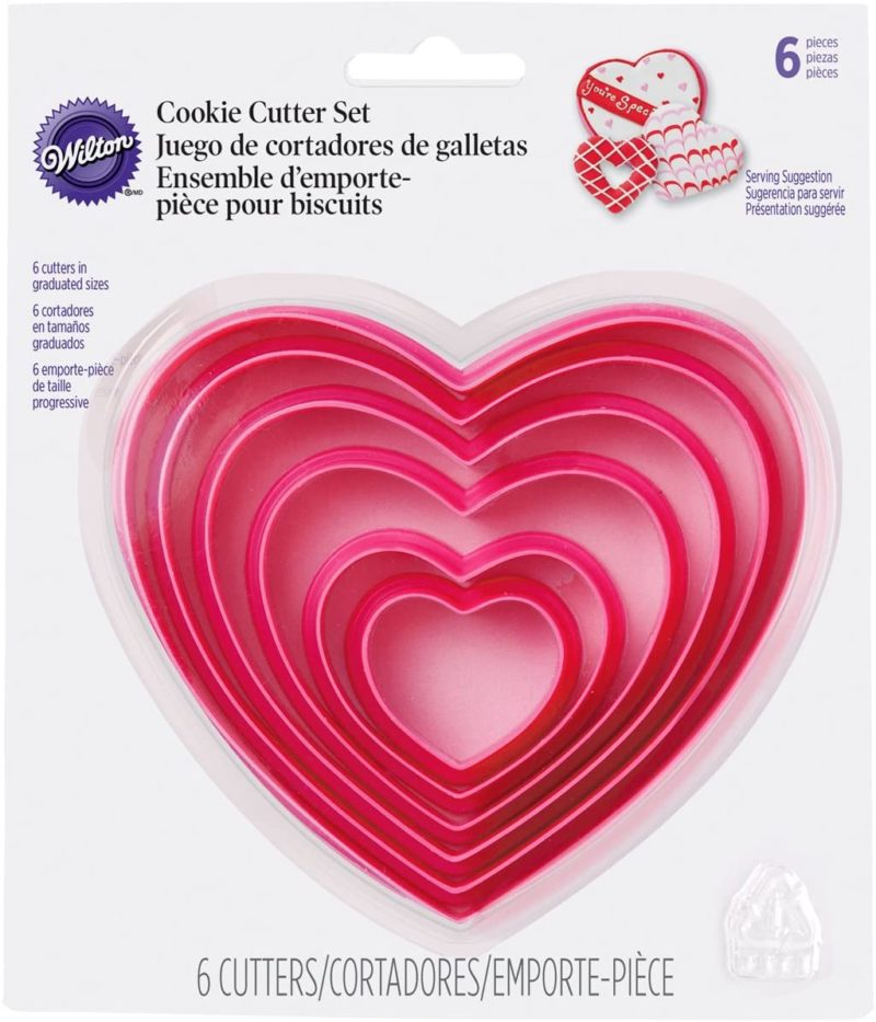 Pink heart nesting cookie cutters