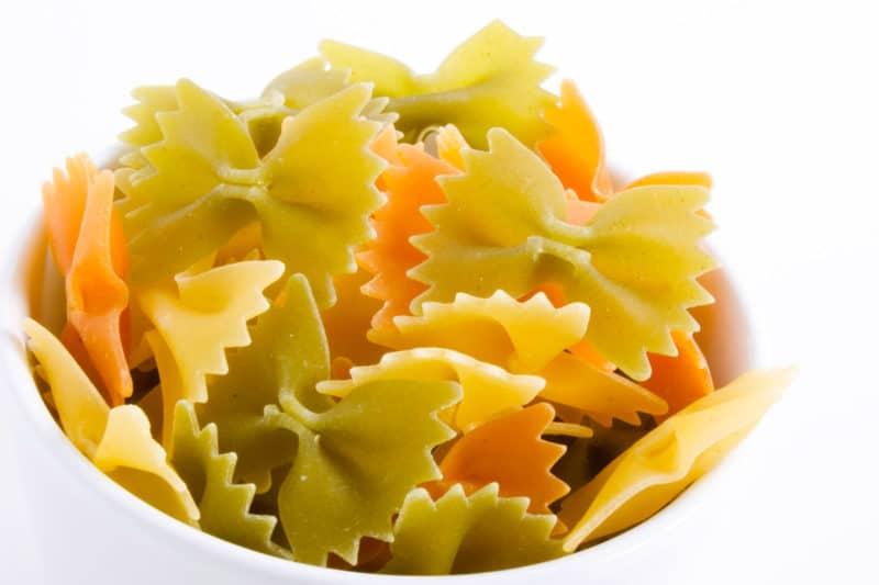 white bowl of farfalle bowtie pasta