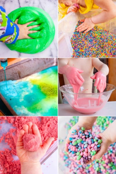 Six photos of toddler sensory activities: rainbow rice bin, toddler goop, colorful bean bin, fluffy slime, baking soda art, kinetic sand.