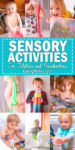 Nine images of toddlers doing sensory activities including slimes, sensory bins, and finger painting