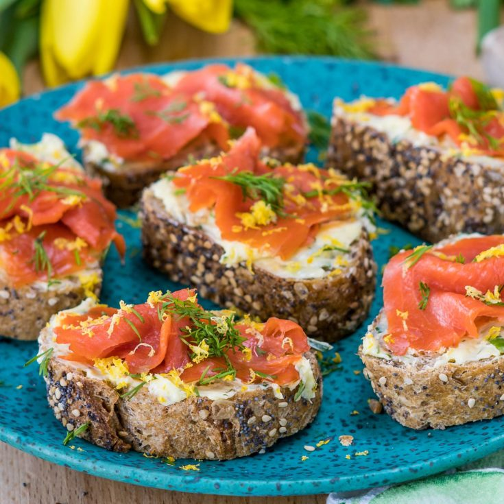 smoked salmon breakfast toasts with fresh dill and lemon zest